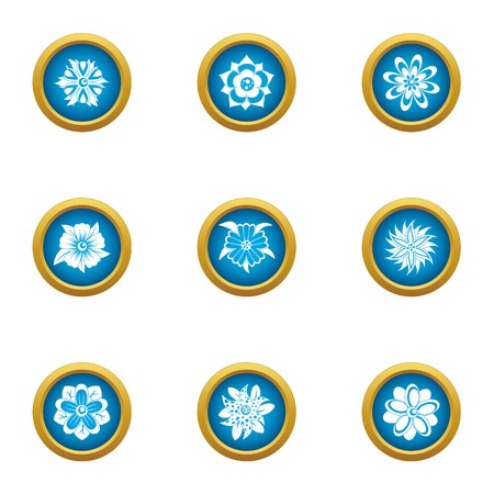 Ice flower icons set. Flat set of 9 ice flower vector icons for web isolated on white background