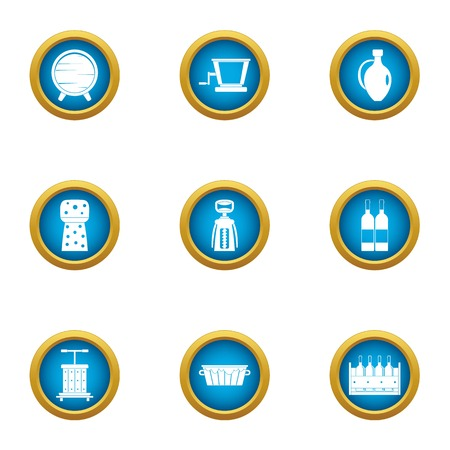 Cream blank icons set. Flat set of 9 cream blank vector icons for web isolated on white background