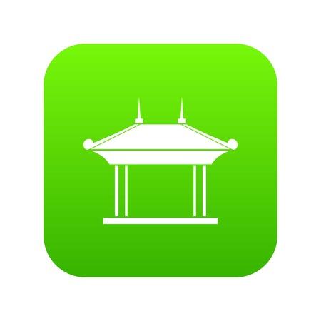 Pagoda icon digital green Illustration