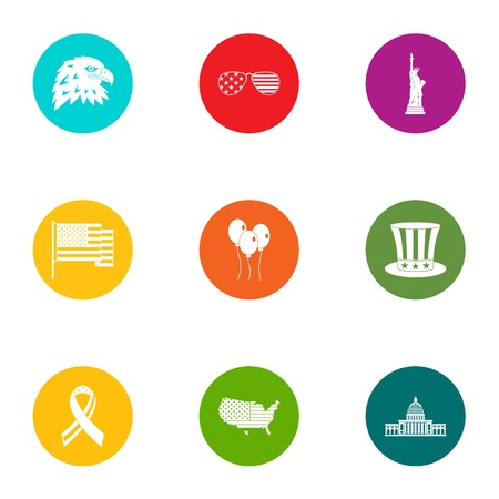 US world icons set. Flat set of 9 us world vector icons for web isolated on white background