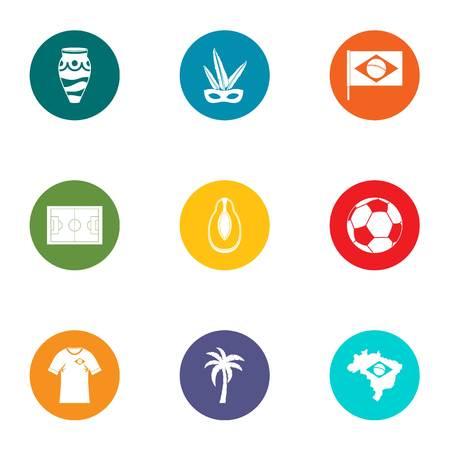 Brazilian lifetime icons set. Flat set of 9 brazilian lifetime vector icons for web isolated on white background Vettoriali