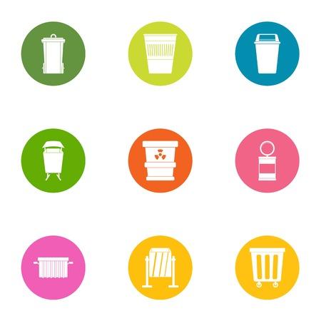 Scavenger icons set. Flat set of 9 scavenger vector icons for web isolated on white background Illustration