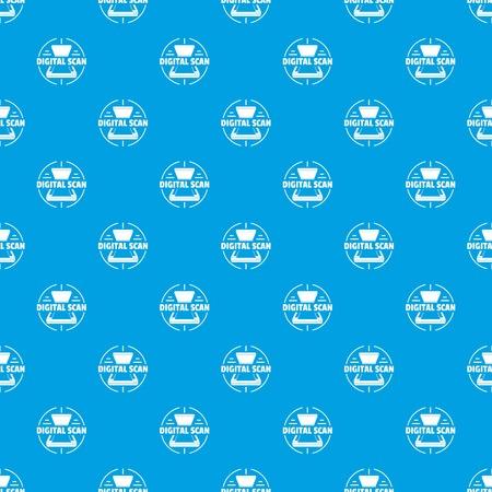 Digital scan pattern vector seamless blue