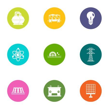 Energy is important icons set, flat style