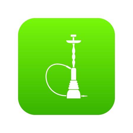 L'icône de narguilé vert numérique pour toute conception isolée sur illustration vectorielle blanc Vecteurs