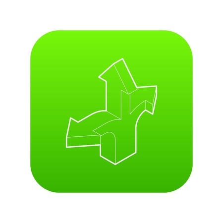 Three way direction arrow icon green vector isolated on white background Иллюстрация