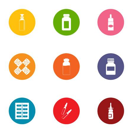 Cureless icons set. Flat set of 9 cureless vector icons for web isolated on white background