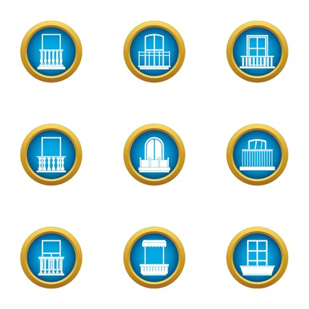 Glass factory icons set, flat style