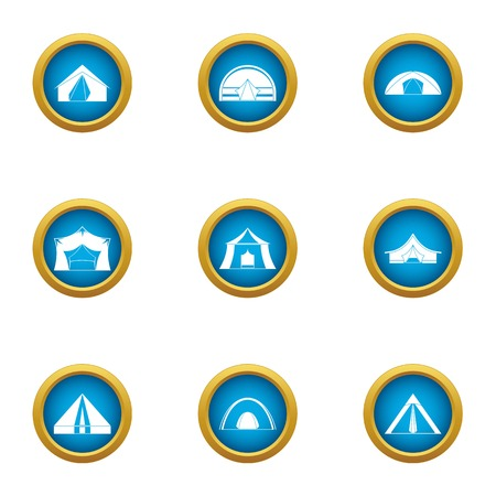 Booth icons set. Flat set of 9 booth vector icons for web isolated on white background Stok Fotoğraf - 130230984