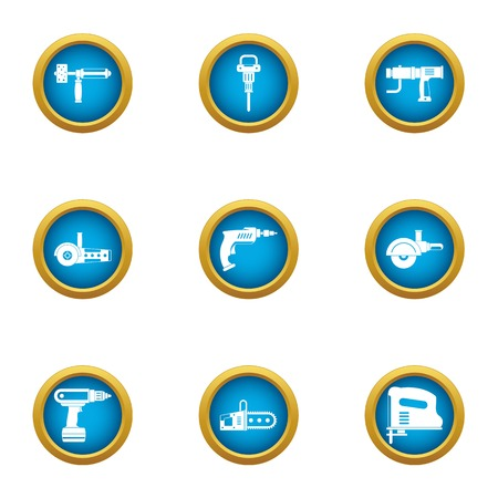 Rough repair icons set. Flat set of 9 rough repair vector icons for web isolated on white background 矢量图像