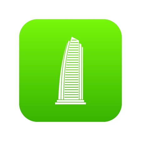Skyscraper icon digital green for any design isolated on white vector illustration