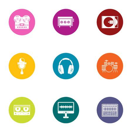 Digital registration icons set, flat style