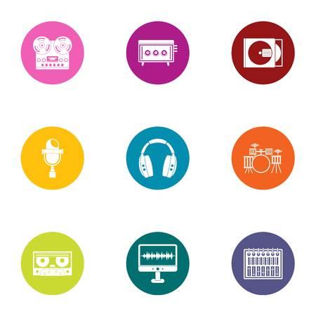 Digital registration icons set, flat style