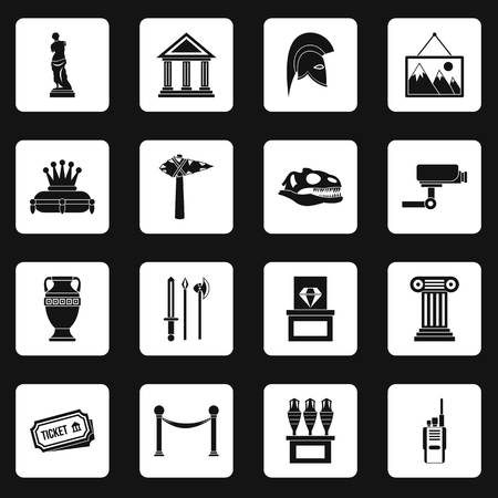 Museum icons set in white squares on black background simple style illustration