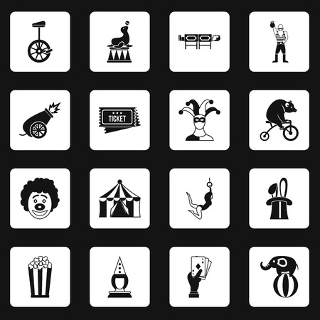 Circus entertainment icons set in white squares on black background simple style illustration