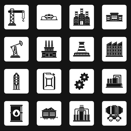 Industry icons set in white squares on black background simple style illustration