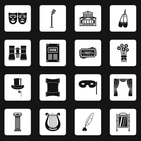 Theater icons set in white squares on black background simple style illustration Zdjęcie Seryjne