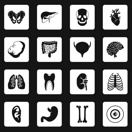 Human organs icons set in white squares on black background simple style illustration Stock Photo