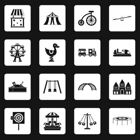 Amusement park icons set in white squares on black background simple style illustration
