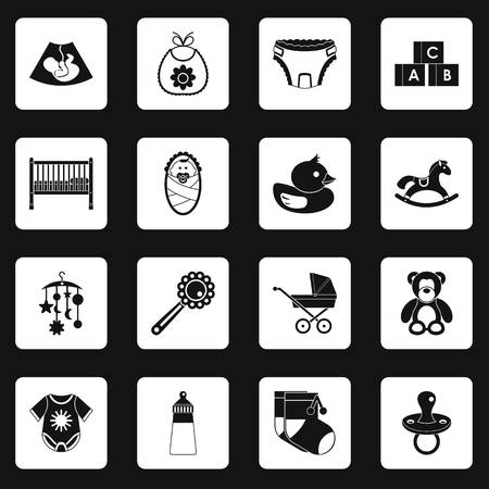 Newborn icons set in white squares on black background simple style illustration