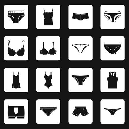 Underwear items icons set in white squares on black background simple style illustration Imagens