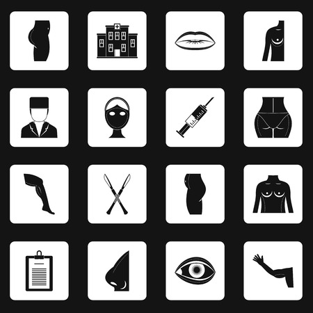 Plastic surgeon icons set in white squares on black background simple style illustration
