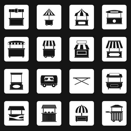 Street food truck icons set in white squares on black background simple style illustration Stock Photo