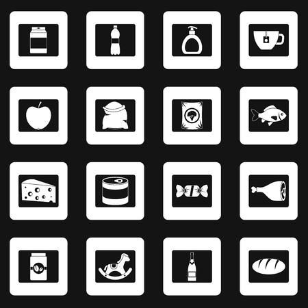 Shop navigation foods icons set in white squares on black background simple style illustration