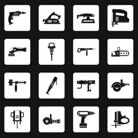 Icônes d'outils électriques définies dans des carrés blancs sur illustration de style simple fond noir