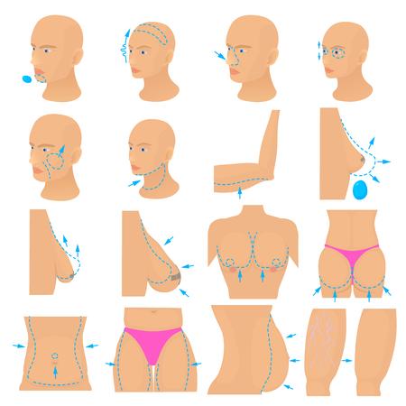 Plastic surgeon icons set body, cartoon style