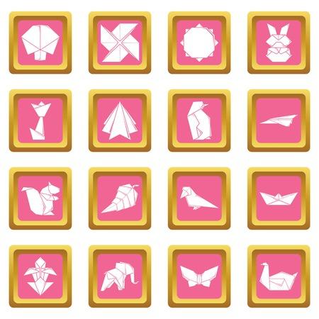 Origami icons set pink square Zdjęcie Seryjne