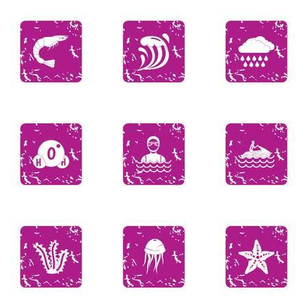 Weather in the sea icons set, grunge style