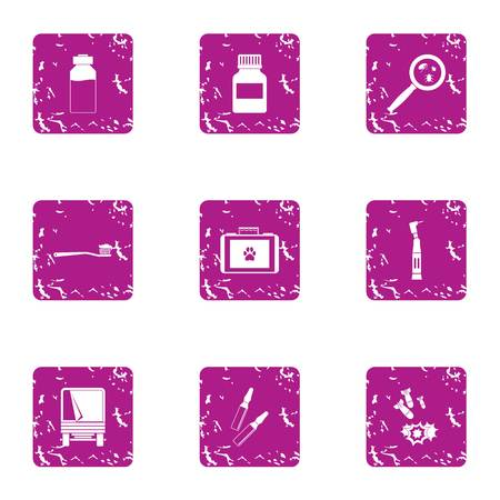 Devastation icons set, grunge style Stock Photo