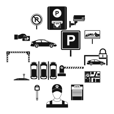 Car parking icons set, simple style Archivio Fotografico