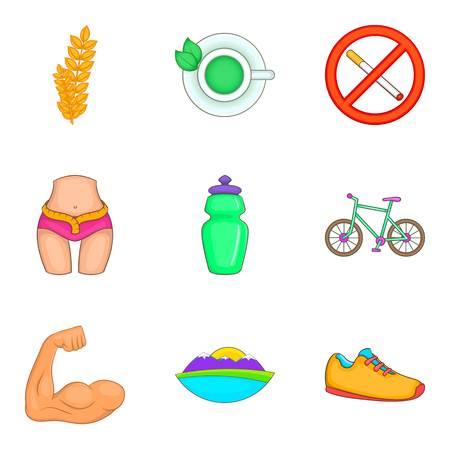 Yoga like sport icons set, cartoon style