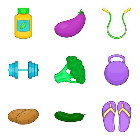Yoga stretching icons set, cartoon style Stock Photo