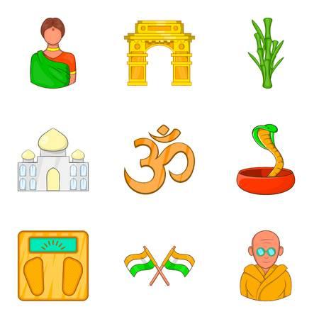 Yoga place icons set, cartoon style