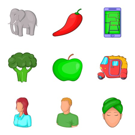 Vegetable for yoga icons set, cartoon style Stock Photo