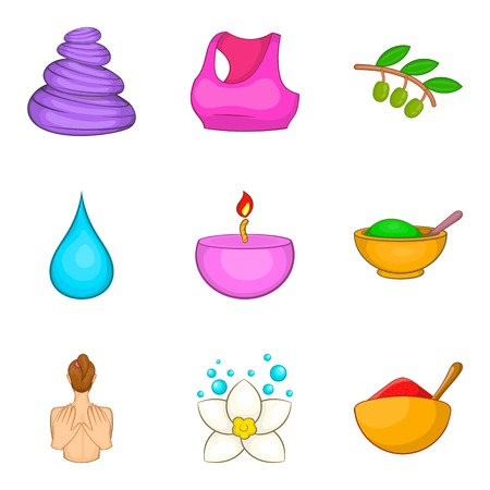 Yoga stuff icons set, cartoon style