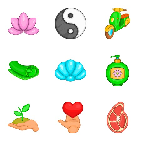 Yoga activity icons set, cartoon style