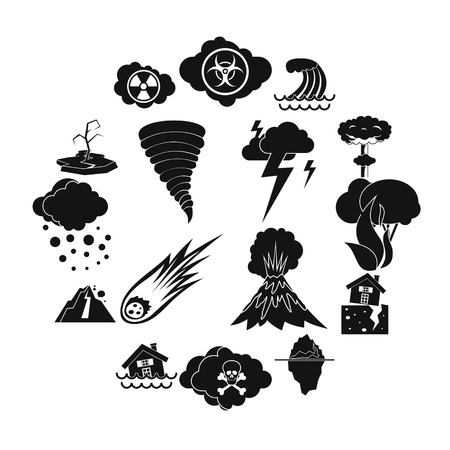 Natural disaster icons set, simple ctyle Stock Photo