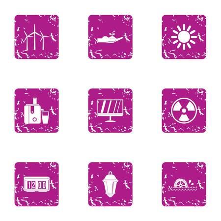 Intensity icons set, grunge style Stock Photo