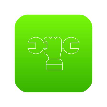 Hand wrench icon green