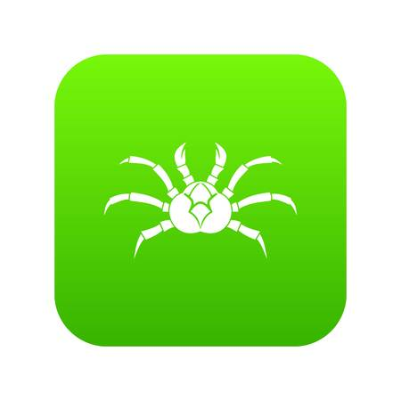Crab icon digital green for any design isolated on white illustration Stock Photo