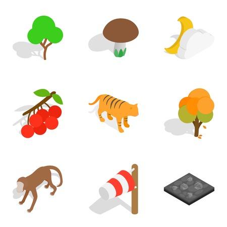 Zoological park icons set. Isometric set of 9 zoological park icons for web isolated on white background
