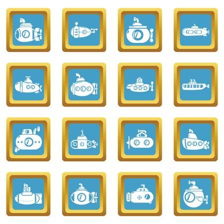 Submarine icons set sapphirine square isolated on white background Stock Photo