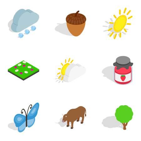 Zoology icons set. Isometric set of 9 zoology icons for web isolated on white background Imagens