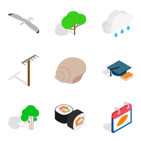 Defender of animal icons set. Isometric set of 9 defender of animal icons for web isolated on white background