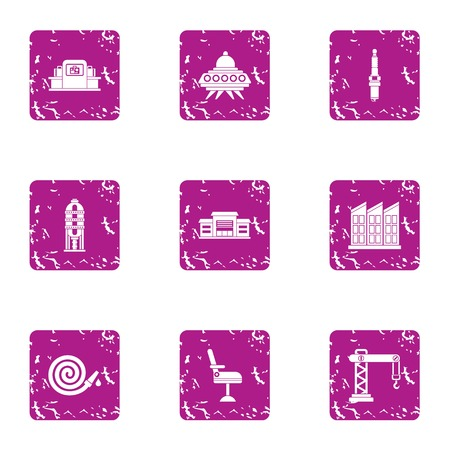 Fast construction icons set. Grunge set of 9 fast construction icons for web isolated on white background