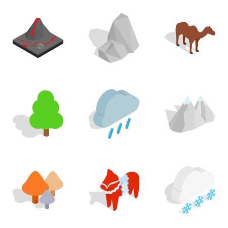 Zoo world icons set. Isometric set of 9 zoo world icons for web isolated on white background